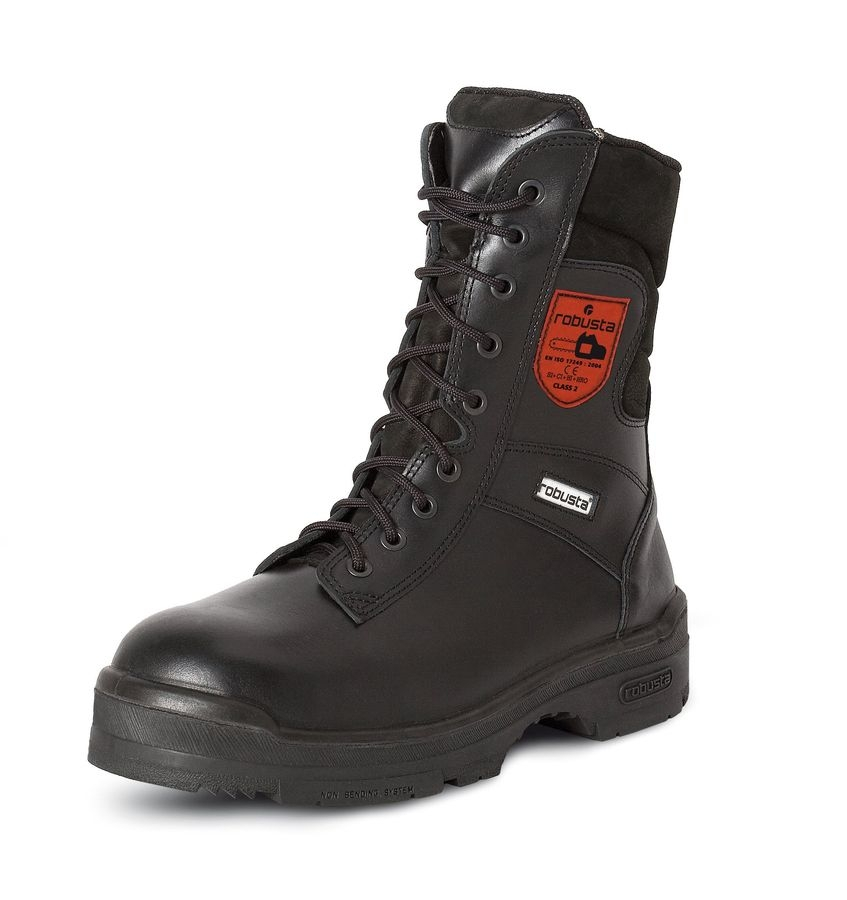 Cut resistant safety boots for forestry work
