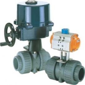 Plastic ball valve with actuator