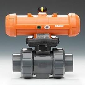 Pneumatically actuated ball valve
