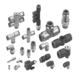 Polymer push-in fitting for compressed air