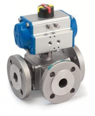 Pneumatically actuated 3-way ball valve
